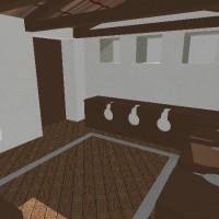 Rendering della latrina (Q), zona termale della villa d'otium. Massaciuccoli, Massarosa.