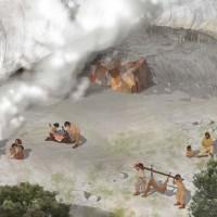 Disegno ricostruttivo di Grotta all'Onda durante il Paleolitico Superiore (circa 12.000-10.000 anni fa).