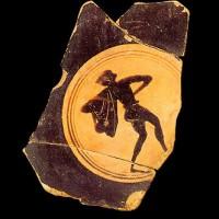 Fondo di coppa attica (VI-V secolo a.C.) che testimonia la seconda fase di vita dell'abitato. Museo Archeologico Nazionale, Firenze.