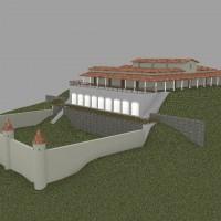 Rendering della prima fase  costruttiva (inizi I secolo d.C). Villa con giardino sottostante.