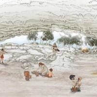 Disegno ricostruttivo di Grotta all'Onda durante il Neolitico Finale e Eneolitco (circa 5000 anni fa).