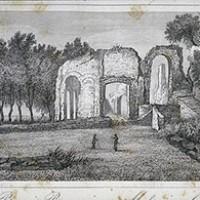 Incisione: Bagni Romani di Massaciuccoli, in A. Mazzarosa, Guida di Lucca e dei luoghi più importanti del ducato, Lucca, 1843.