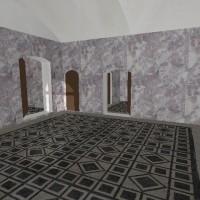 Rendering della stanza A di accoglienza, zona termale della villa d'otium. Massaciuccoli, Massarosa.