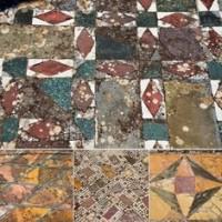 Esempi di pavimenti con decorazioni in marmo (opus sectile). Villa Adriana, Tivoli