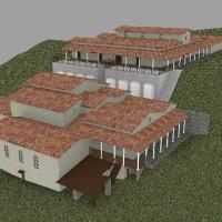 Rendering della terza fase costruttiva (inizi del II secolo d.C.). Villa con complesso termale sottostante.