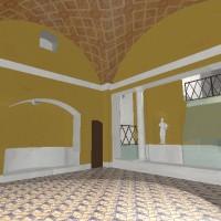 Rendering del triclinio-frigidario, zona termale della villa d'otium. Massaciuccoli, Massarosa.